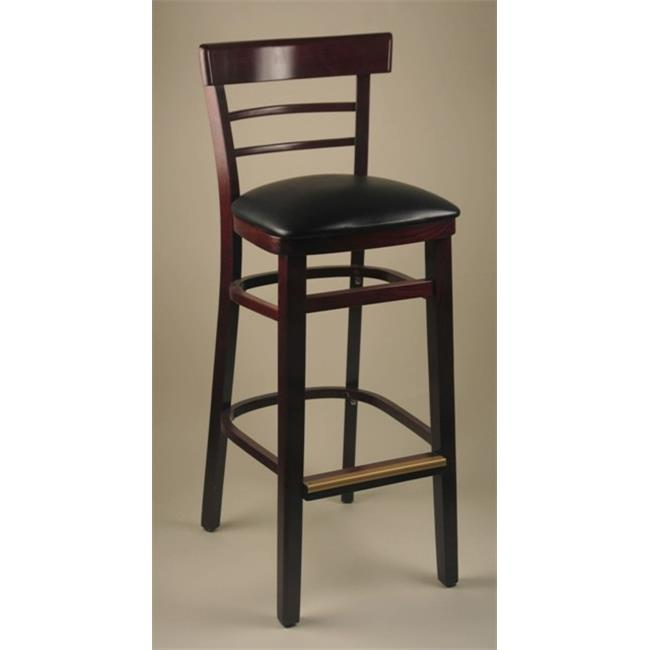 Alston Quality 1105-UP-W-Blue Ridge Ladder Back Side Chair With Upholstered Seat Walnut Frame