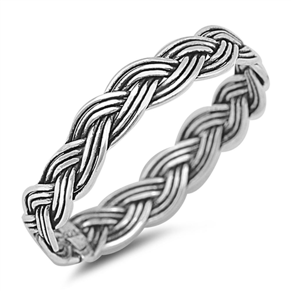 Oxidized Braided Rope Wedding Ring ( Sizes 2 3 4 5 6 7 8 9 10 11 12 ) New .925 Sterling Silver Knot Band Rings by Sac Silver (Size 9)