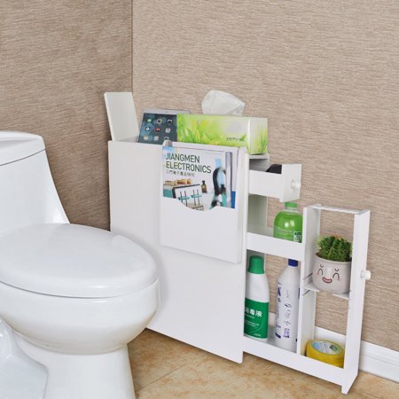 Bathroom Floor Cabinet,Wooden Free Standing Storage Cabinet Side Organizer Unit with Drawer, White ()
