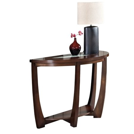 - Bowery Hill Sofa Table in Cherry with Cracked Glass Insert