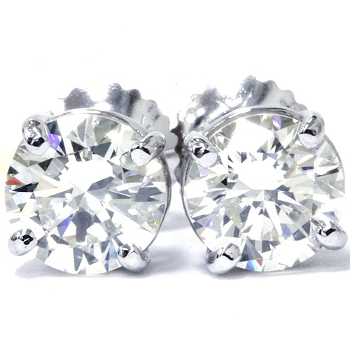 14K White Gold 1/2 Carat Natural Round Diamond 4-Prong Stud Earrings