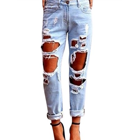 Womens Ripped Destroyed Hole Boyfriend Jeans Casual Loose Denim Skinny Pants