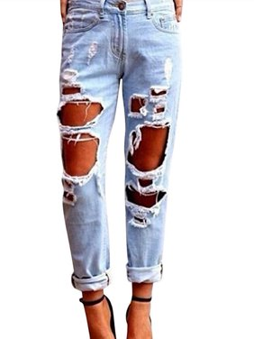 b3d41e13 Product Image Womens Ripped Destroyed Hole Boyfriend Jeans Casual Loose  Denim Skinny Pants Trousers