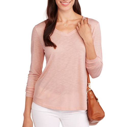 Faded Glory Women's Long Sleeve Elevated V-Neck T-Shirt - With Rayon For Supreme Comfort