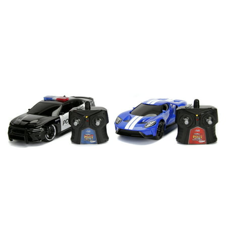 Jada Toys - Hyperchargers Heat Chase Twin Pack 1:16 RC - 2017 Ford GT & 2015 Dodge Charger SRT Hellcat Police