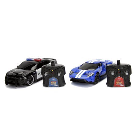 Jada Toys - Hyperchargers Heat Chase Twin Pack 1:16 RC - 2017 Ford GT & 2015 Dodge Charger SRT Hellcat
