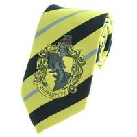 Premium Harry Potter Tie Striped House Crest Necktie Neckwear Tie Cosplay Costume Wizarding World (Hufflepuff)