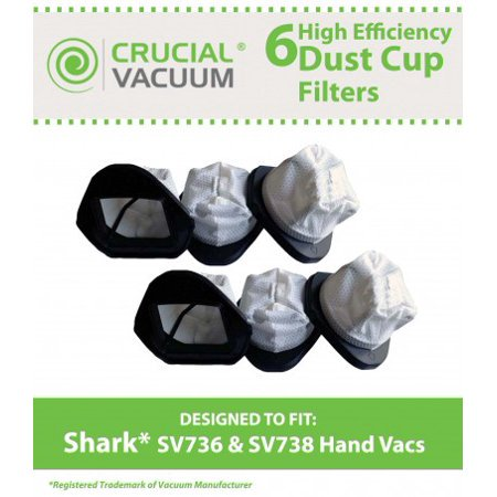 6 Shark SV736, SV748, SV738, SV780 Dust Cup Filters, Part # XSB726N, XF769 - image 1 de 1