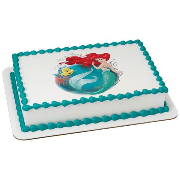 "Disney Princess The Little Mermaid Make A Splash 7.5"" Round Sheet Image Cake Topper Edible Birthday Party"
