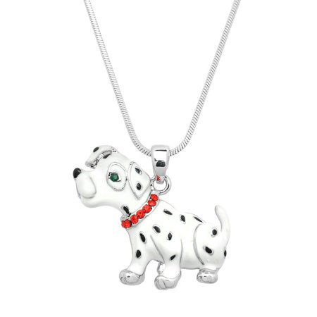 Dalmatian Dog Pendant Necklace Rhinestone Crystal Rhodium High Polished J0615 Dog Crystal Jewel Jewelry