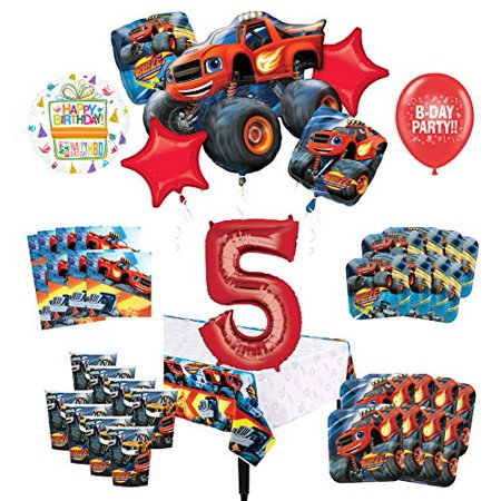 Mayflower Products Blaze and The Monster Machines 5th Birthday Party Supplies 8 Guest Decoration Kit and Balloon - Monster Themed Birthday