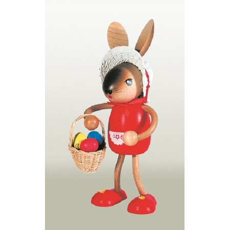 Easter Bunny Rabbit Girl with Basket German Wooden Figurine for $<!---->