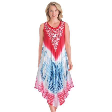 Women's Americana Tie Dye Easy-Fit Sleeveless Scoop Neck Dress with Embroidered Detail - Cute Summer Outfit for Any Occasion, Medium/Large, Red Multi (Embroidered Sleeveless Tie)