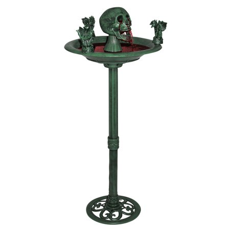 Creepy Skull Gargoyle Water Bird Bath Fountain Halloween Prop Decor Decoration