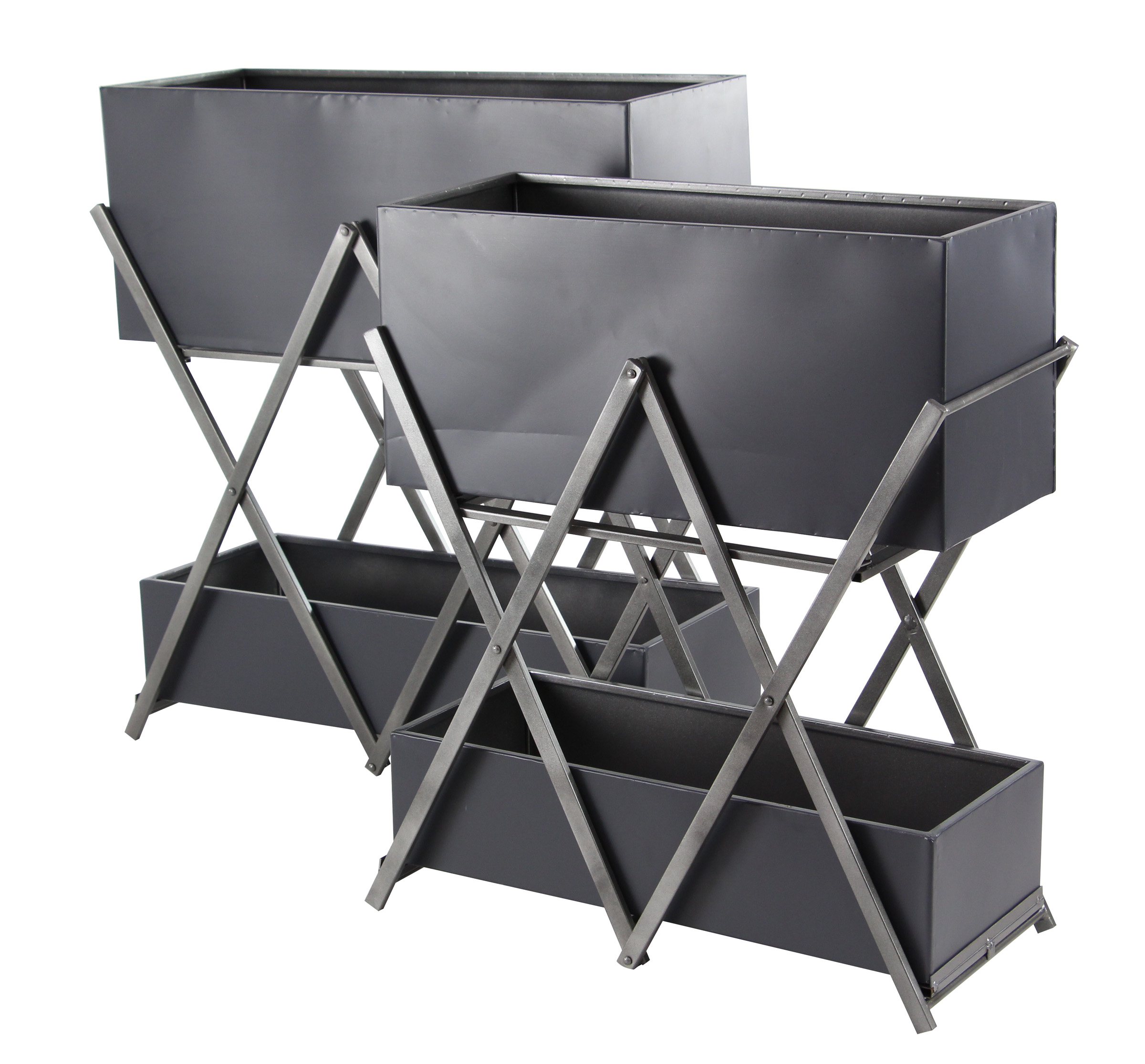 Decmode Modern 29 And 31 Inch Gray Rectangular Double-Deck Plant Stands - Set of 2