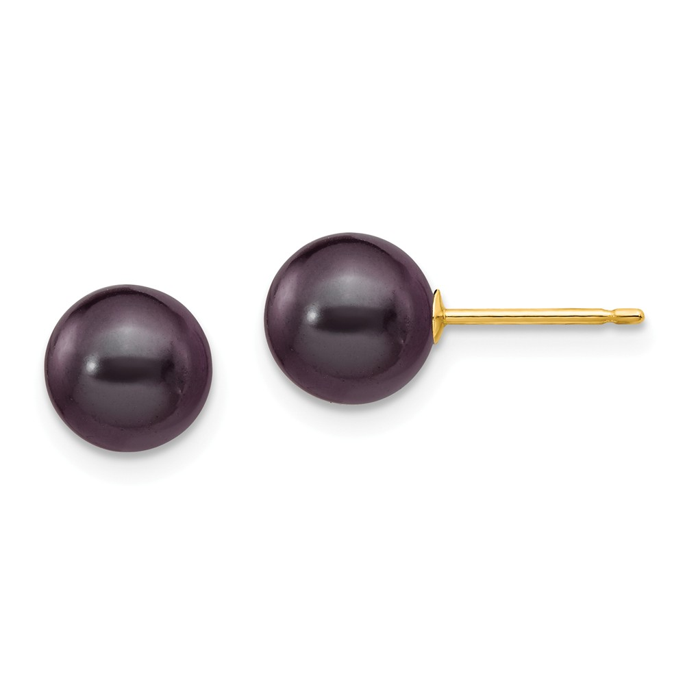 14k Yellow Gold 7-7.5mm Black Round Cultured Pearl Stud Earrings.