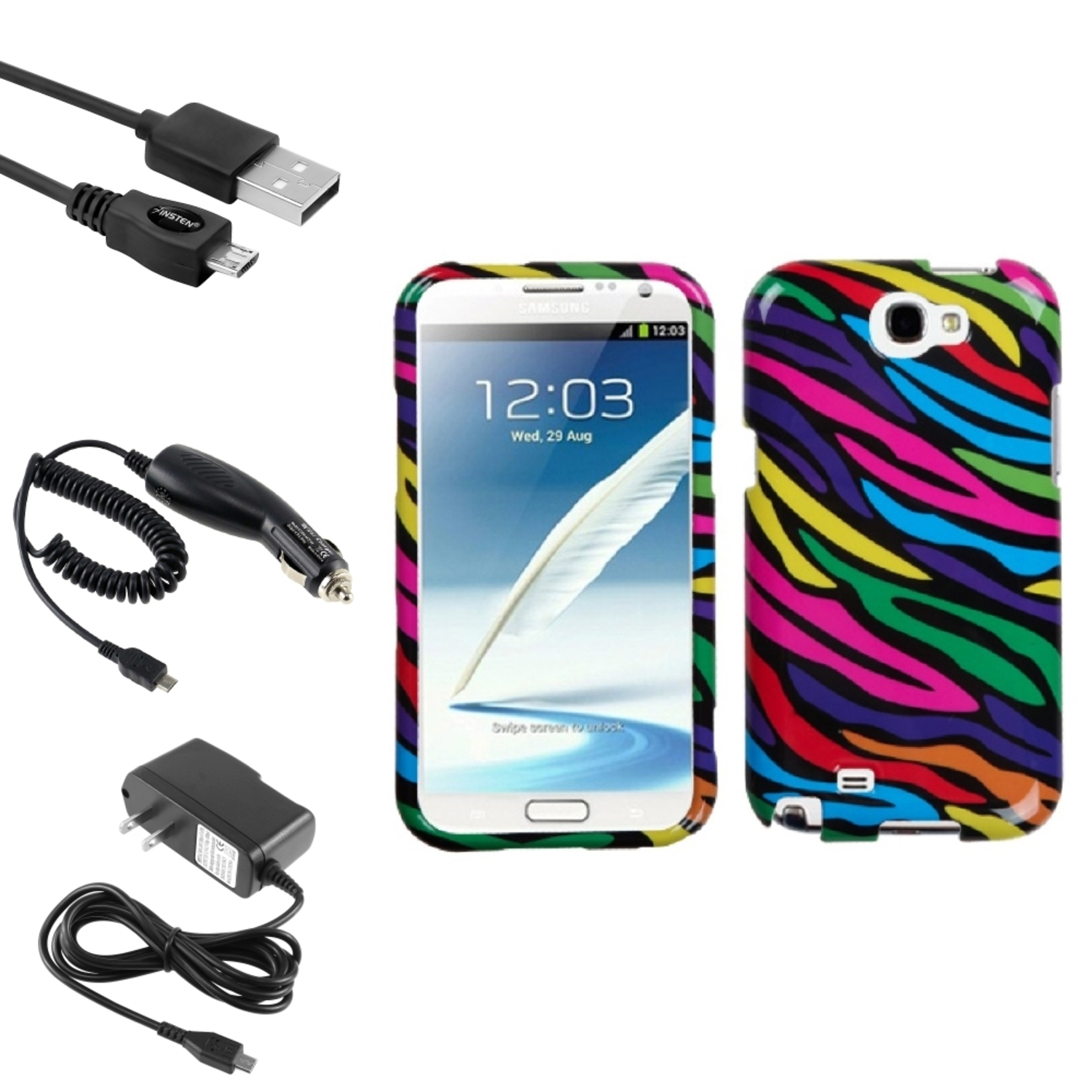 Insten Neon Zebra Hard Case DC Home Charger Cable For Samsung Galaxy Note 2 II