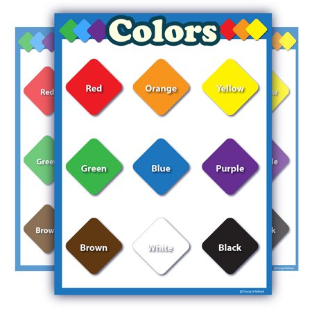 Colors learning chart LAMINATED poster teachers and educators Blue Border Portrait SMALL SIZE no pictures portrait fun classroom decoration and presentation clear read from distance - Fall Classroom Decorations