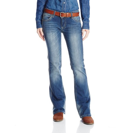 Lauren Flap Pocket Jeans (Wrangler Juniors Premium Patch Sadie Sits At Hip Back Flap Pocket Bootcut Jean, Gold Dust Tint, 3x36)