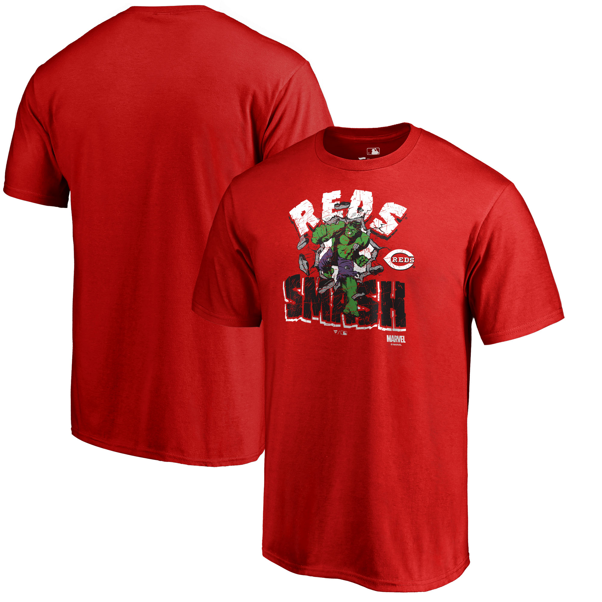 Cincinnati Reds Fanatics Branded Marvel Hulk Smash T-Shirt - Red