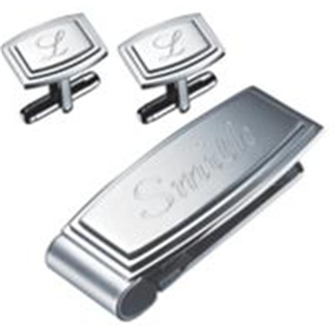 Visol VSET78 Petersburg Stainless Steel Engravable Money Clip and Cufflinks Gift Set