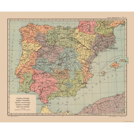 Map Of Portugal And Spain Detailed.International Map Spain And Portugal Streit S Atlas 1913 27 76 X 23
