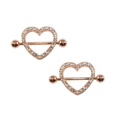 Rose Gold Heart Nipple Ring 14g Ion Plated With Gems (14g Gold Plate)