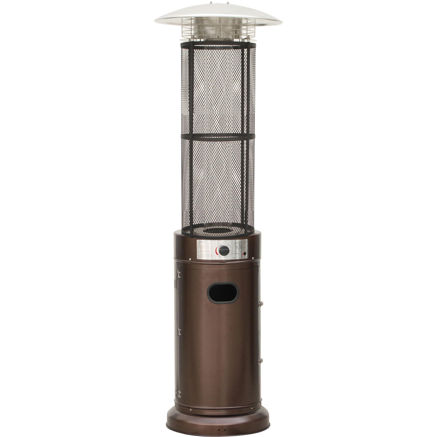 Hanover 6-Ft. 34,000 BTU Cylinder Patio Heater with Glass Flame Display in Bronze