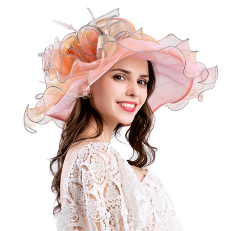 Women's Organza Church Kentucky Derby Fascinator Bridal Tea Party Wedding Hat - Tea Party Hats