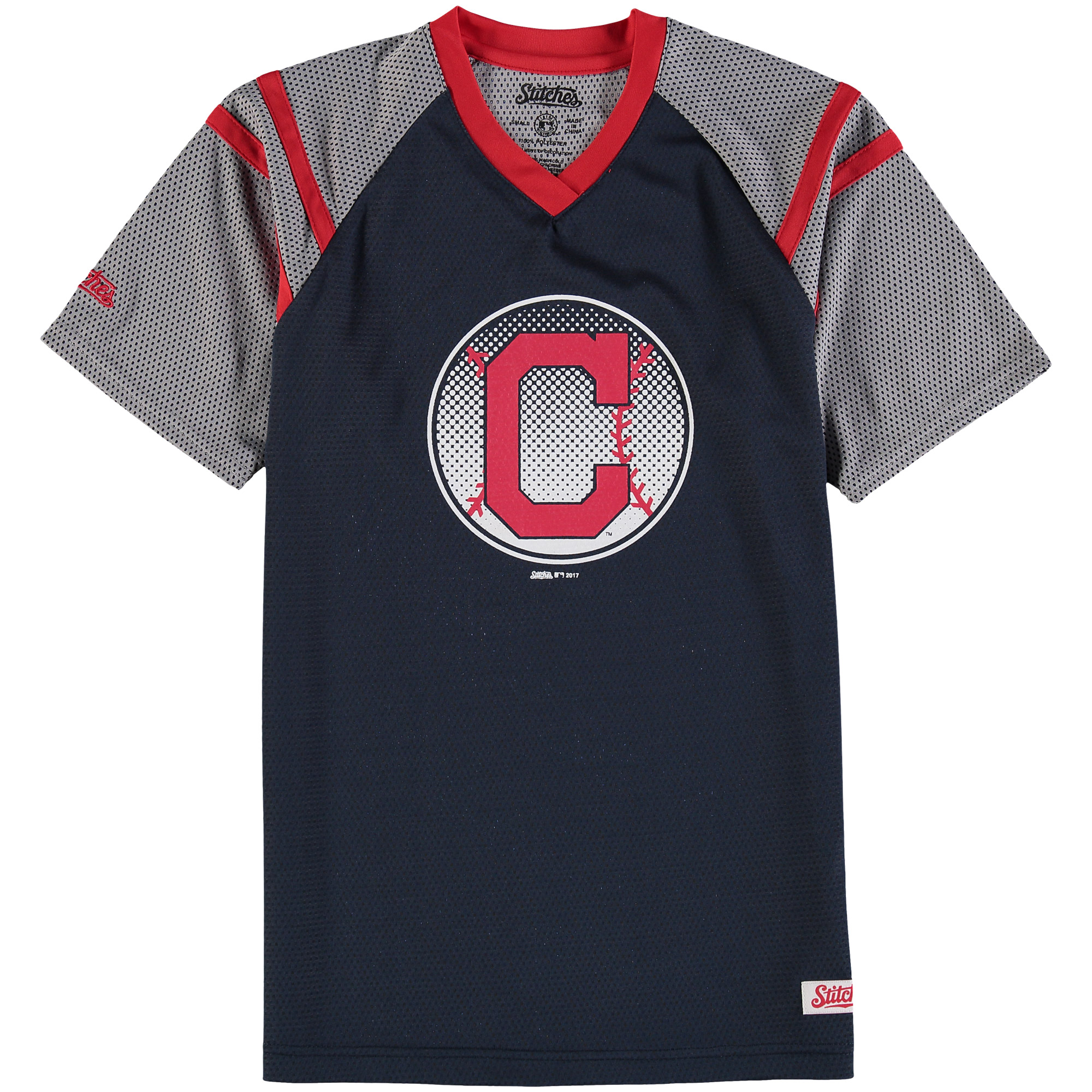 Cleveland Indians Stitches Youth Mesh V-Neck Jersey T-Shirt - Navy/Red