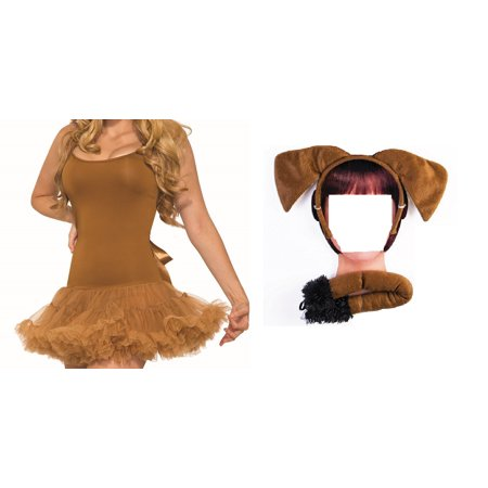 Scooby Doo Ears And Tail (Brown Puppy Dog Kit Dress Crinoline Ears Tail Pet Animal Costume Accessory)