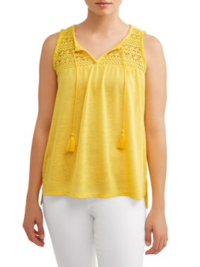 967df509102a2 Product Image Women s Lace Trim Peasant Tank Top