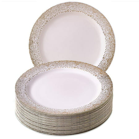 (PARTY DISPOSABLE 20 PC DINNERWARE SET   20 Dinner Plates   Heavy Duty Disposable Plastic Dishes   Elegant Fine China Look   for Upscale Wedding and Dining   Ocean Mist Collection-White/Gold (10.25