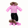 15 In Baby Doll Clothes, Twin 6pc Bitty Pink Winter Jacket, Pants, Boots, Mittens