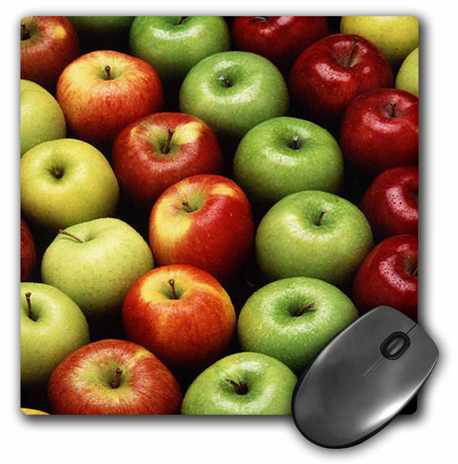 3dRose Food Fruit Apples, Mouse Pad, 8 by 8 inches