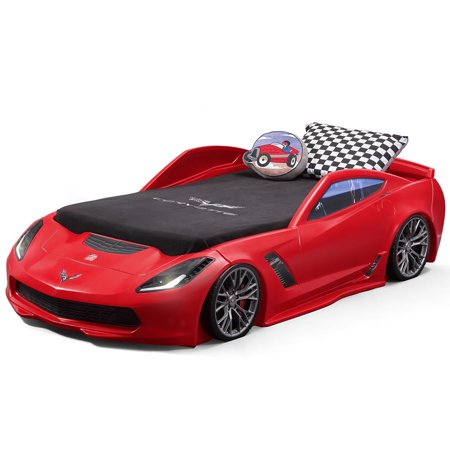 Step2 Corvette z06 Convertible Toddler to Twin Bed with Lights ...