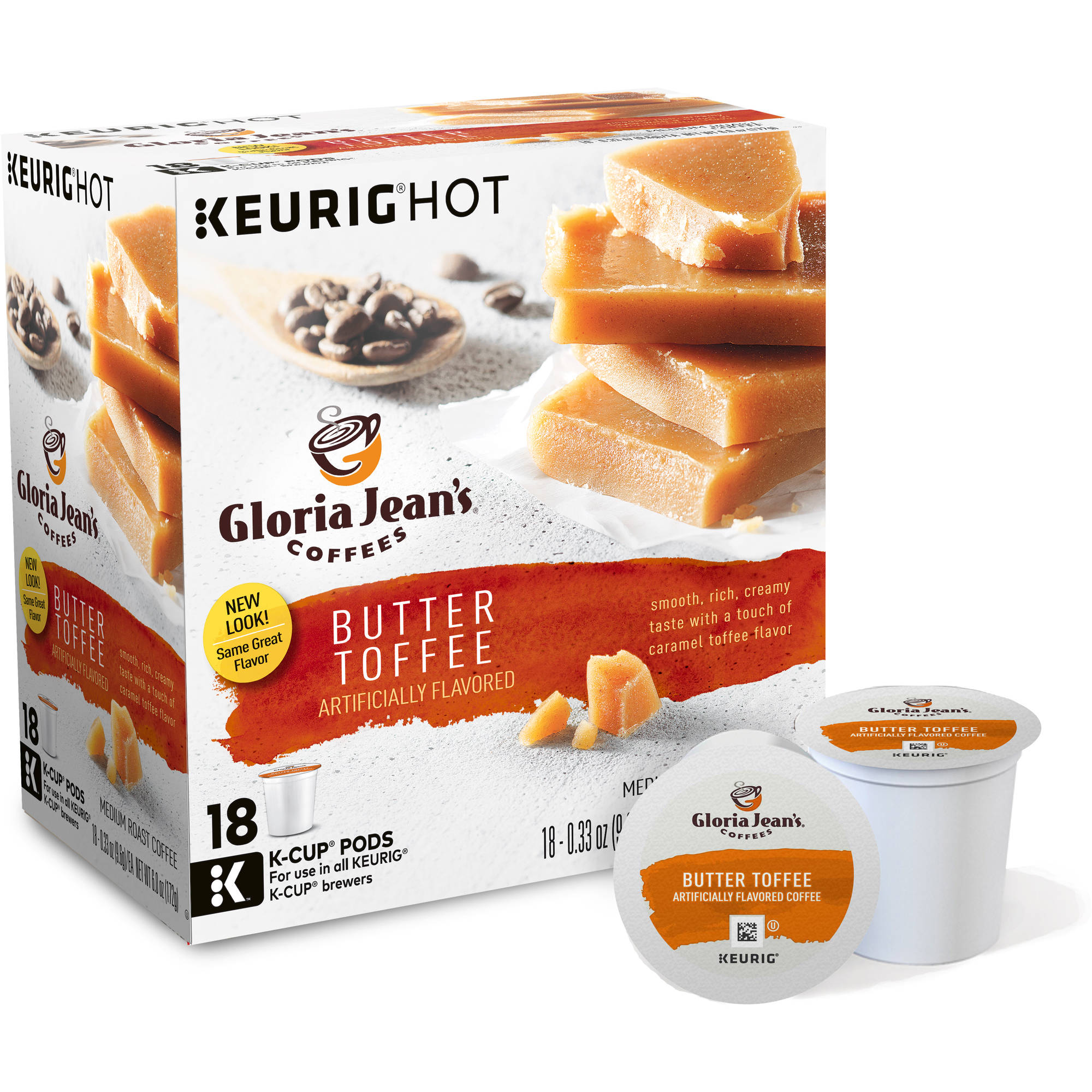 Keurig K-Cups, Gloria Jeans Butter Toffee Flavored Coffee, 18ct