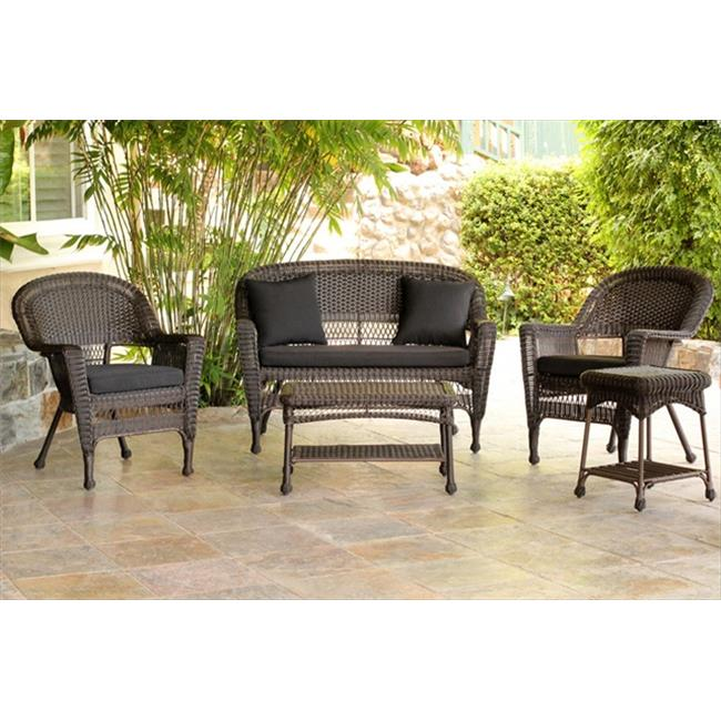 Jeco W00201-G-OT-FS017 5 Piece Espresso Wicker Conversation Set - Black Cushions