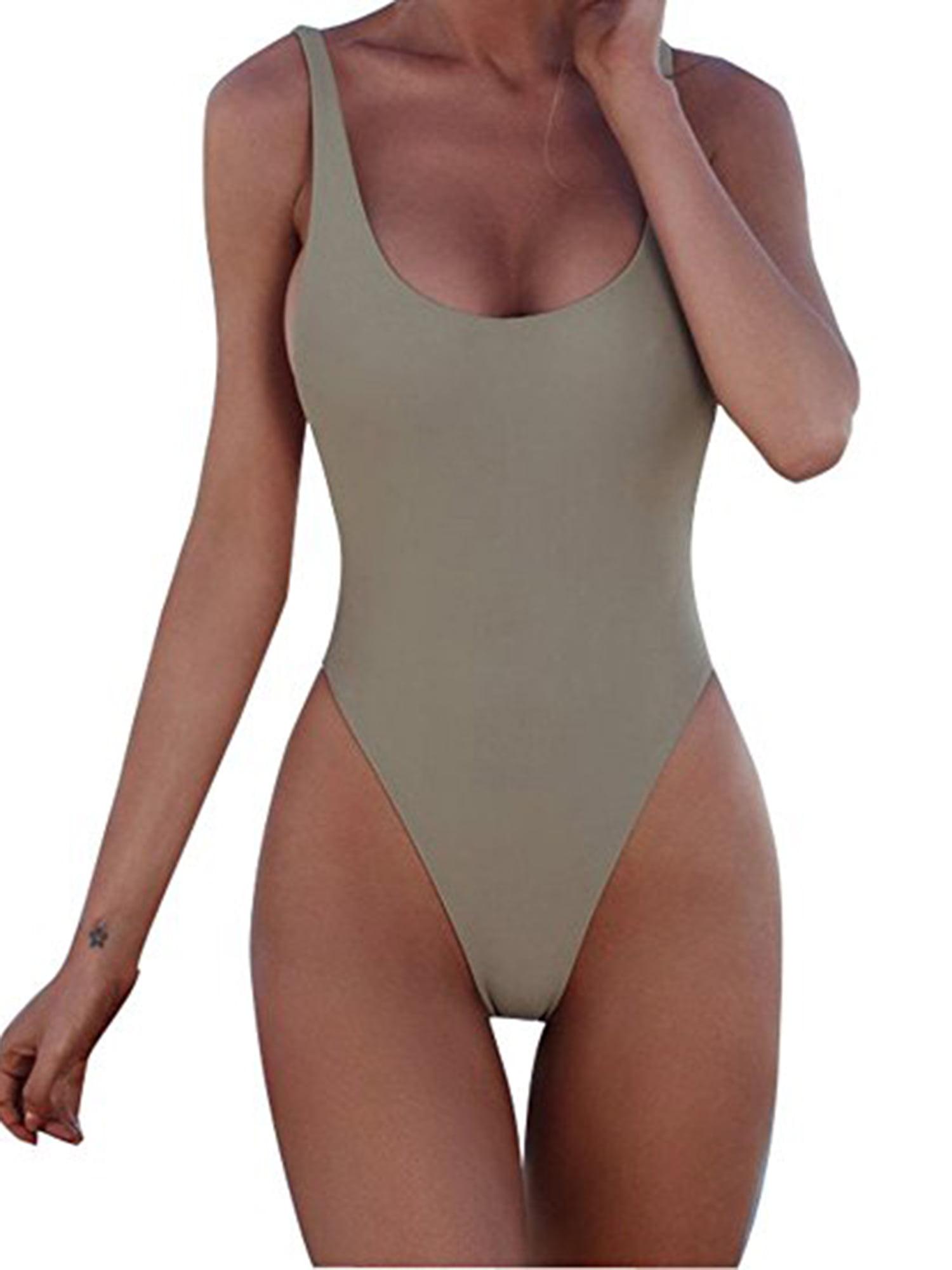 Juniors One Piece Swimsuit U Neck Backness Swimwear Open Back Bikini Bathing Suit