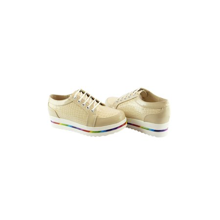 Liyu Adult Gold Zebra Stripe Panels Multi Color Band Sneakers