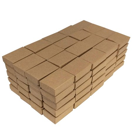 Brown Kraft Cotton Filled Jewelry/Gift/Packaging Boxes ~ 100 Per Pack By Display and Fixture Store 100 Kraft Cotton Filled Jewelry