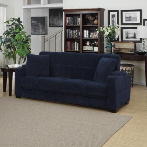 Handy Living Portfolio Tevin Navy Blue Velvet Convert A Couch Storage Arm  Futon Sofa