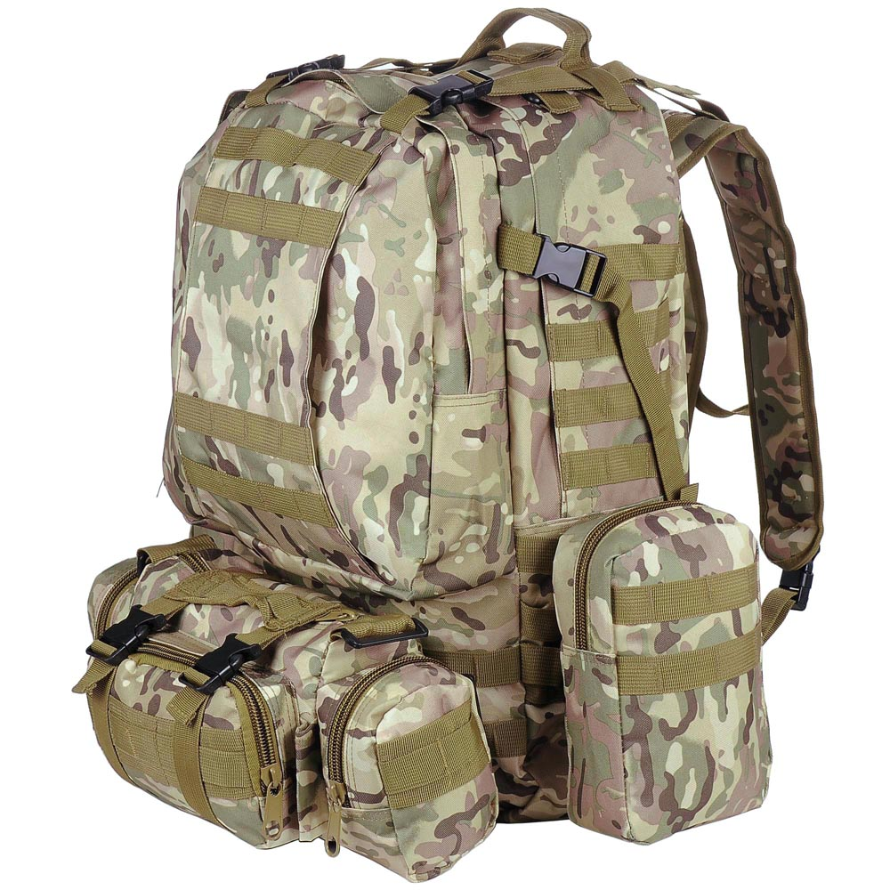 "AW 55L CP Camouflage Camping Bag 23x19x5.5"" Oxford Nylon Backpack Travel Hike Climb Military Tactical by AW"
