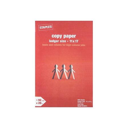 "Staples 11"" x 17"" Copy Paper 20 lbs 92 Brightness 500/Ream (190450) 512211"