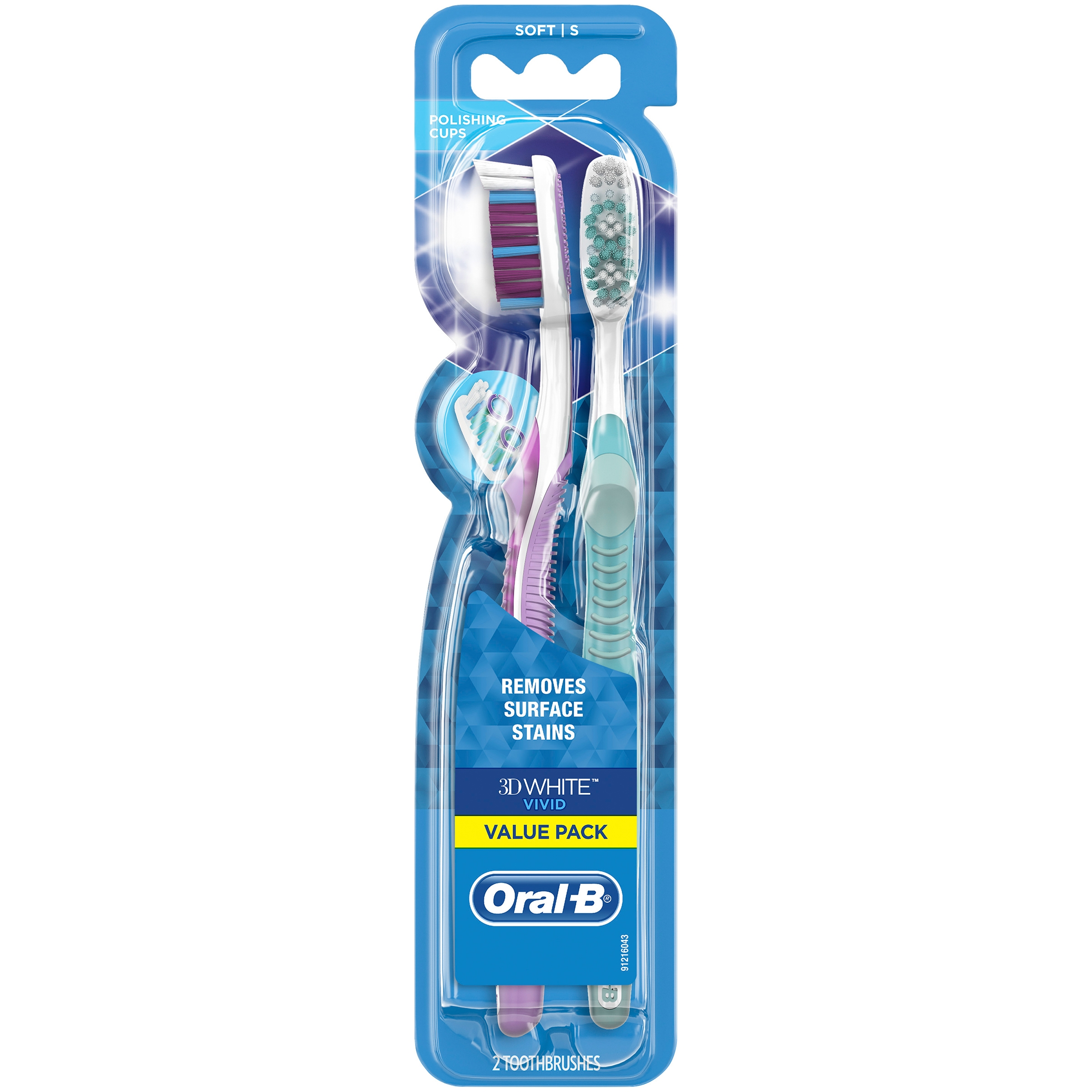 Oral-B 3D White Vivid Manual Toothbrushes, Soft Bristles, 2 Count Value Pack