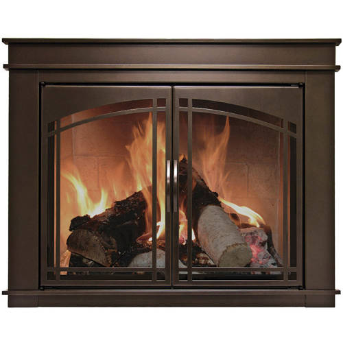 Pleasant Hearth Farlane Cabinet Prairie Arch Style Fireplace Glass Door, Oil Rubbed Bronze, FA-5700