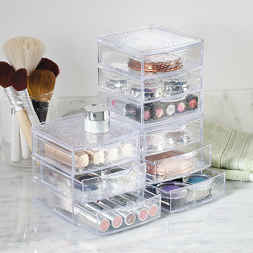 InterDesign Rain Vanity Cosmetic Makeup Jewelry 3 Drawer Box, Clear