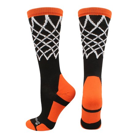 Crew Length Elite Basketball Socks with Net (Black/Orange, Large) - Black/Orange,Large