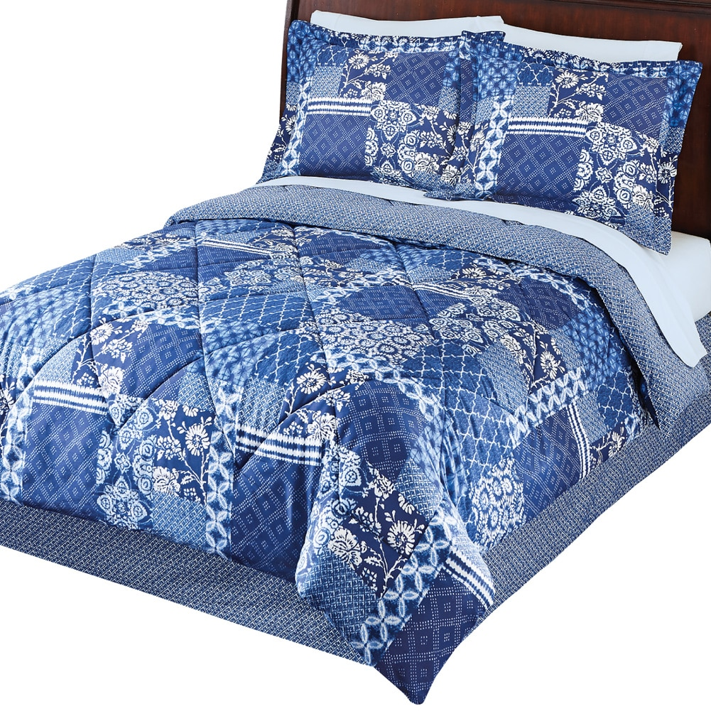 Blakely Blue Floral Diamond Pattern Medium-Weight Comforter Bed Set With Sham(s) and... by Collections Etc