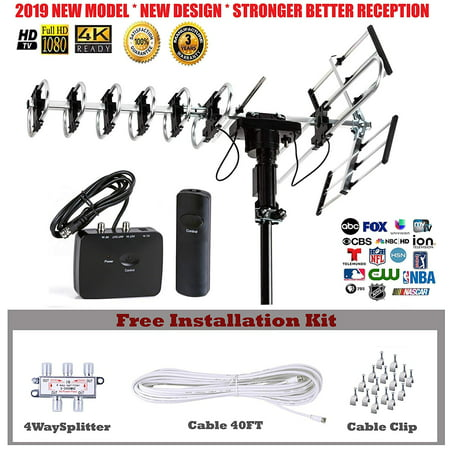 Five Star Outdoor Antenna 2019 newest model with smart chip to receive better stable signal Up to 200 Miles with Motorized 360 Degree Rotation, UHF/VHF/FM Radio with Remote Control, Installation Kit (Light Up Antenna)